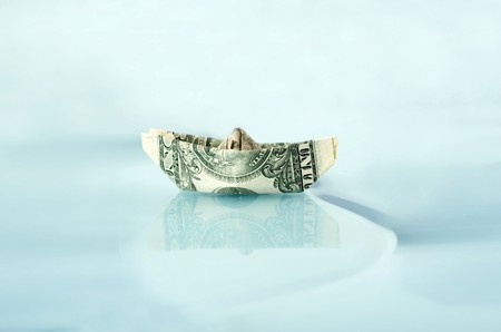 Ship made of money dollar in water Stock Photo - 8034305