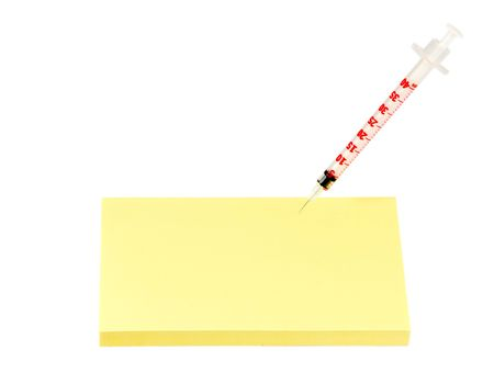 insulin syringe in blank prescription isolated Stock Photo - 8176383
