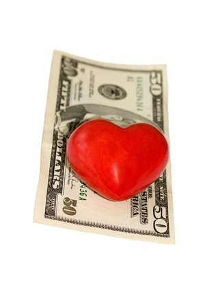 fifty dollar bill: fifty dollar bill on heart concepts isolated on white background