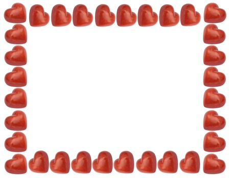 love frame with red hearts isolated on the white background photo