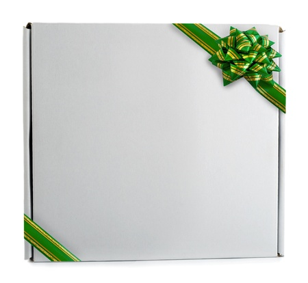 Gift box green ribbon bow  photo