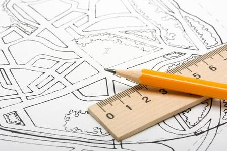 Bouwkundig plan en tekengereedschappen. Stockfoto