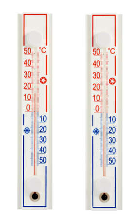 celcius: thermometer in hot environment and thermometer in cold environment