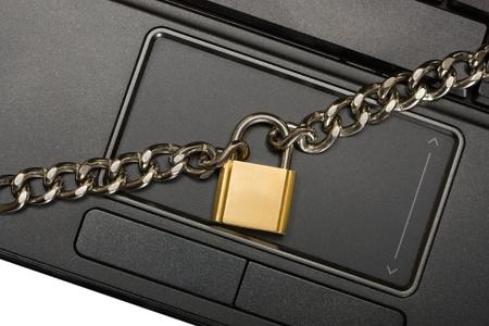 padlock on touchpad in laptop  photo