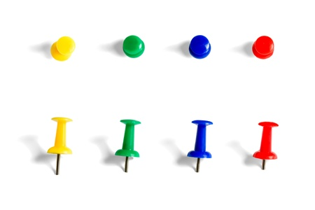 yellow tacks: push pins collection  Stock Photo