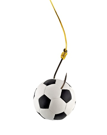 adversaries: soccer ball on fishing hook isolated on white background