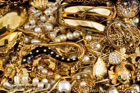 edelstenen: diamant gouden sieraden kostbare parel ketting ring achtergrond