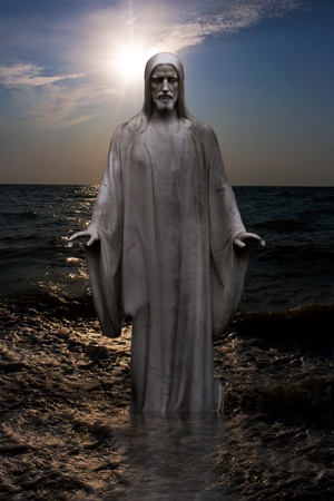 Jesus walking on the water 스톡 콘텐츠