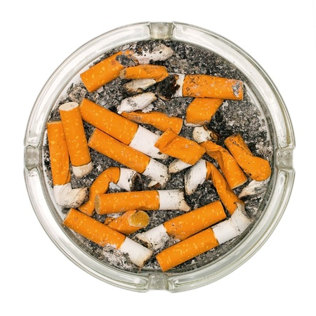 ashtray full of cigarette butts
