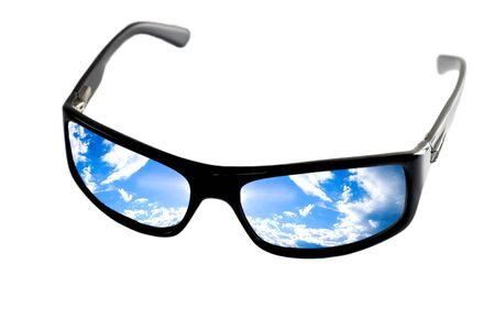 black sunglasses man reflection sky isolated photo