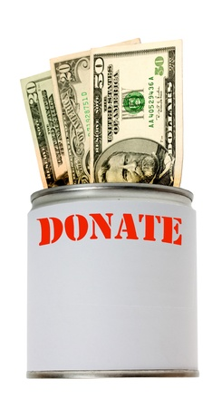 Donate can dollars isolated