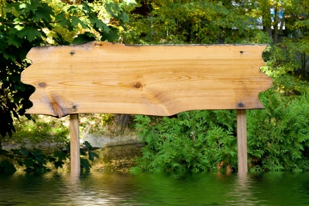 billboard wooden in flooding springtime Stock Photo - 12821574