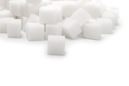 sucrose: lump sugar pile isolated Stock Photo