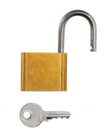 open lock set key isolated photo