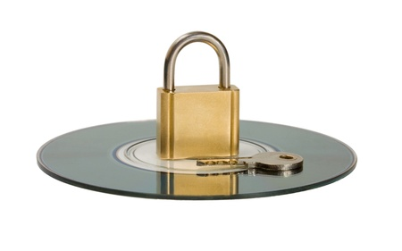 Data Protection CD disc key and lock isolated on white background photo
