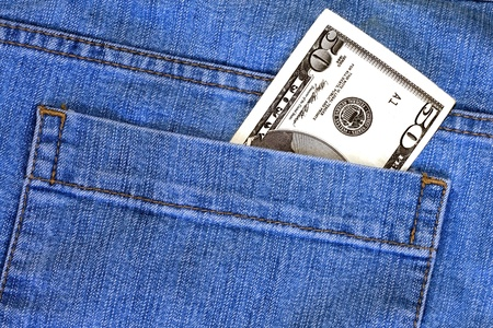 50 Dollars in Jean pocket background  photo