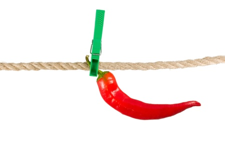 clothespeg: red pepper chile on clothes-peg rope