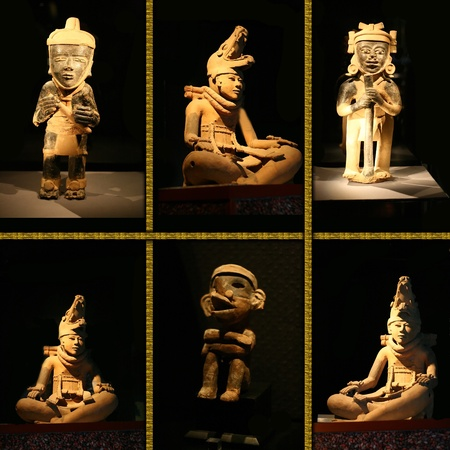 sculpture maya idol on black background.  Stock Photo - 13046583