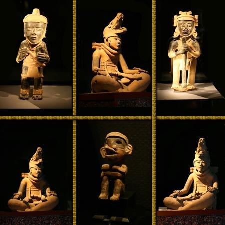 sculptuur maya idool op zwarte achtergrond.