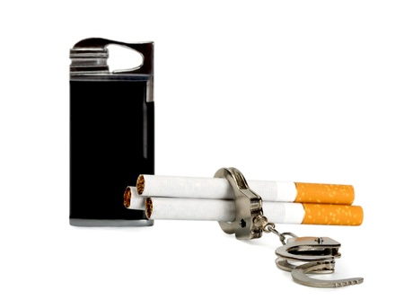 cigarette-lighter and Cigarette - addiction isolated on white background photo