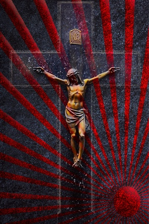 crucifixion in sunbeams grunge black background  photo