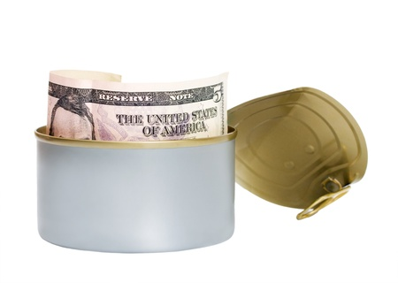 tinned: dollar tinned isolated on white background