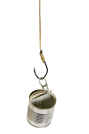 fish hook catch empty tin can on white background photo
