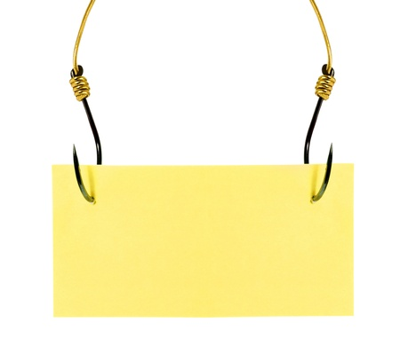 Yellow sticky note with fish hook solated on white background 스톡 콘텐츠