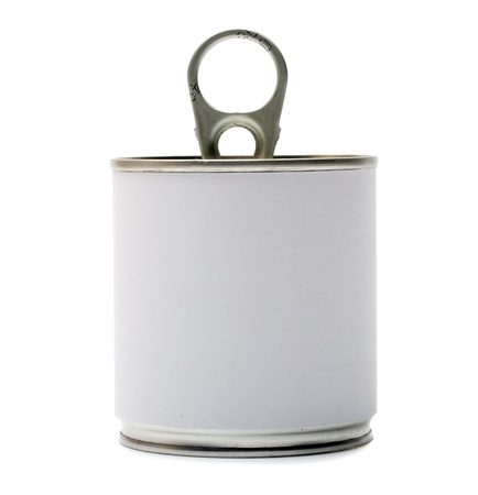 Tin can with blank white Label isolation on a white photo