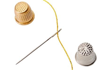 thimble needle isolated on white background Stock Photo - 13962694