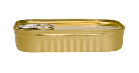 conserved: Tin can of conserved food isolated on a white background