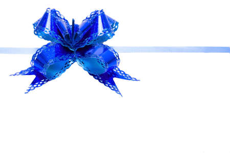 Bow blue isolated on white background photo