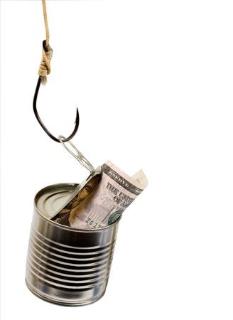 Catch money   Hook of the bank tin dollar isolated on white background photo