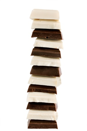 Stack Of Dark and White Chocolate isolated on white background