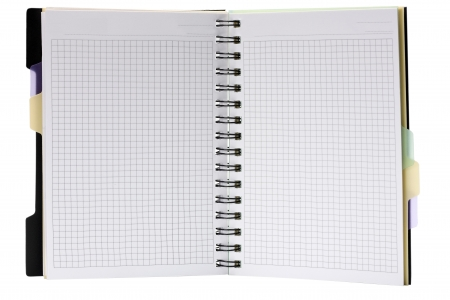 open spiral note pad isolated on white background photo