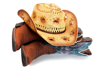 hoed in laarzen Stockfoto
