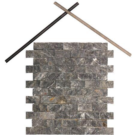 Brick house tile facade isolated on white background Stock Photo - 14072091