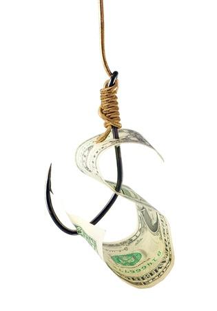 Fishing hook and money photo