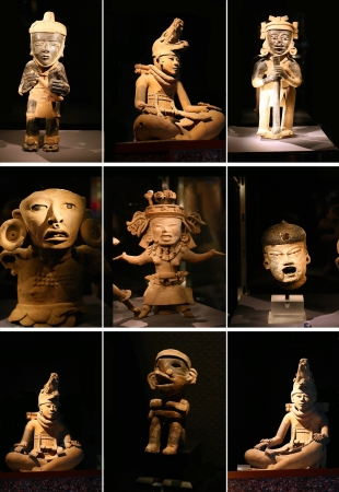 ancient civilization: Set sculpture maya idol on black background