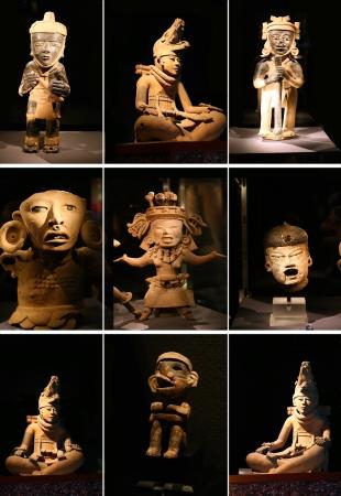 idool: Stel sculptuur maya idool op zwarte achtergrond