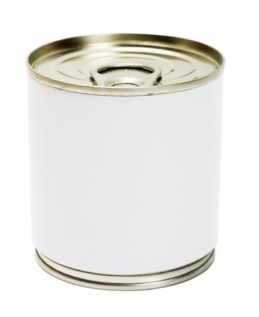 processed food: Alimentare possono etichettare isolato su sfondo bianco