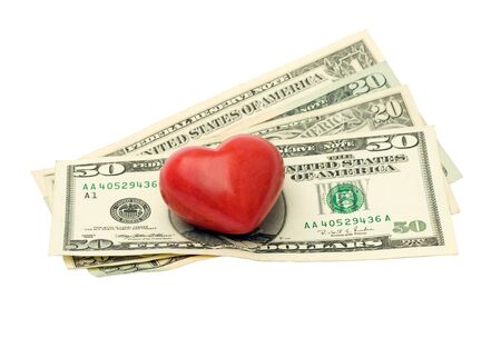 dollars and heart isolated on white background - love money photo