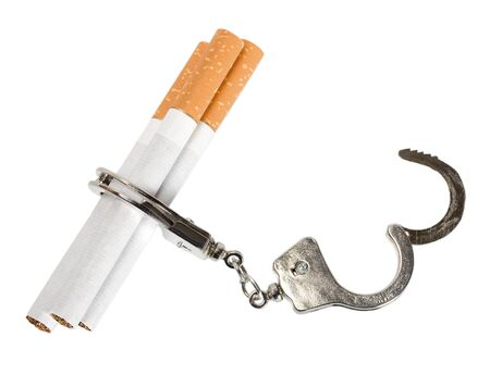 Cigarette isolated on white background   Smoking manacles dependency photo