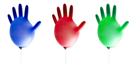 balloons cleaning gloves isolated on white background photo