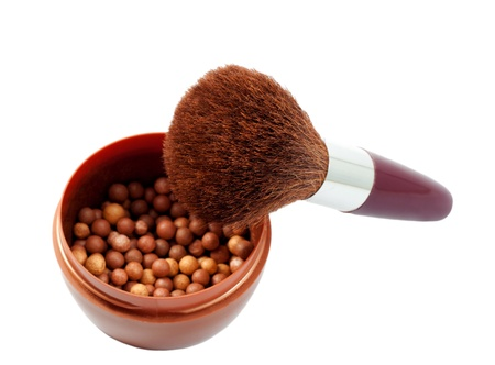 Powder brush in mineral make up ball powder isolated on white background photo