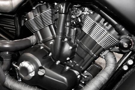 silueta moto: V-Twin motor de la motocicleta de cerca los detalles de fondo