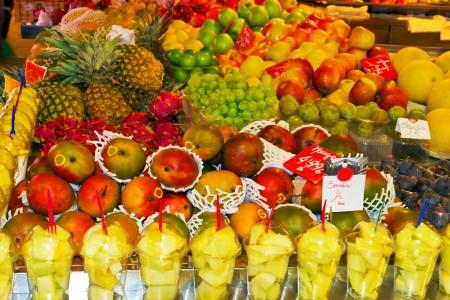 boqueria: vegetables and fruits in La Boqueria, market Barcelona Stock Photo