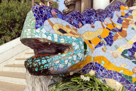 Sculpture of a salamandra of Antoni Gaudi mosaic in park guell of Barcelona photo