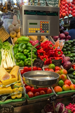 Vegetables scales in La Boqueria, market Barcelona photo