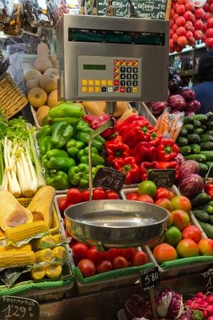 boqueria: Vegetables scales in La Boqueria, market Barcelona